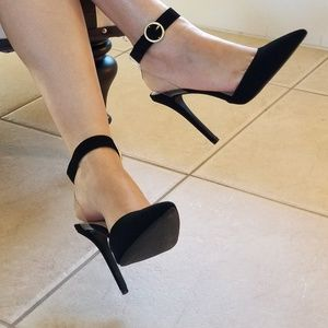 Shoes - BLACK FAUX SUEDE ANKLE STRAPPY HEELS